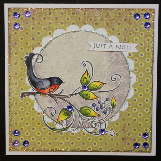 This is the gorgeous new Birds on Wire & Plant set designed by Sharon Bennett for Hobby Art. Foam Mounted Grey Rubber Stamp backed onto EZ Mount so will adhere to any Acrylic Block. Birds on Wire - 100mm x 80mm approx Bird on Plant Size - 103mm x 76mm approx. This stunning card was made by Sally Dodger: