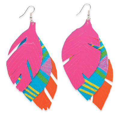 Feather earrings made out of duck tape...a good project for Friday night?!