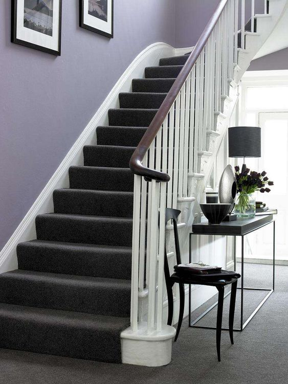 Black Stair Carpet For White Staircase Meadowbrook Redo