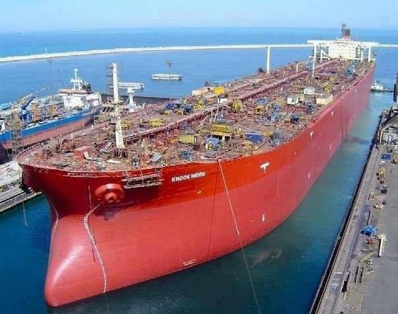 The largest ship in the world tanker Knock Nevis, Norway. Its length is 458 m.