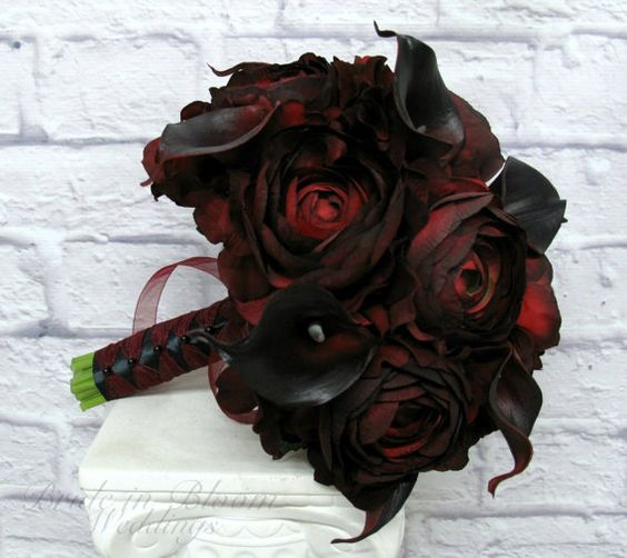 Wedding Bouquet Red black calla lily by BrideinBloomWeddings