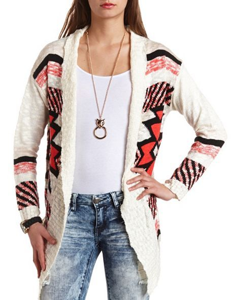 Aztec Cardigan Sweater Charlotte Russe