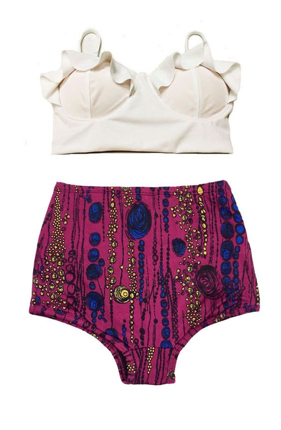White+Midkini+Top+and+Maroon+Highwaisted+High+by+venderstore,+$39.99