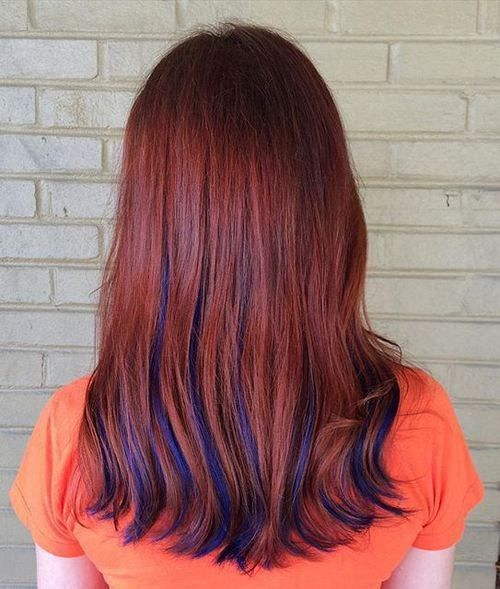 Image Result For Natural Red Hair To Blue Hair Color Auburn Red Hair With Highlights Blue Hair Highlights