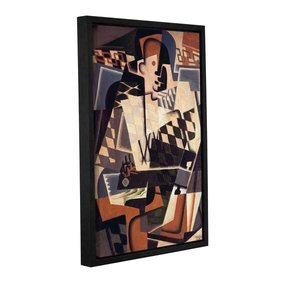 ArtWall Gris Juan's 'Harlequin with a Guitar,1917' Gallery Wrapped Floater-framed