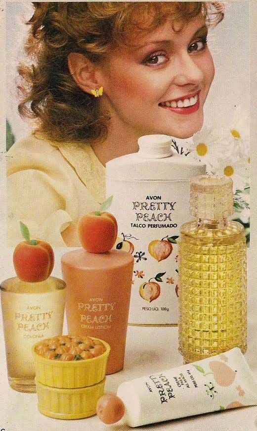 Avon Pretty Peach (this is the Portuguese ad). Aimed at young girls. I had this in the late 1970's, was still around in the late 1980's as I bought some for my eldest daughter.