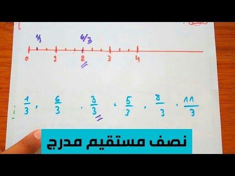 الكسور حاصل القسمة و نصف مستقيم مدرج رياضيات اولى متوسط 1am الجيل الثاني Youtube Math Math Equations Airline