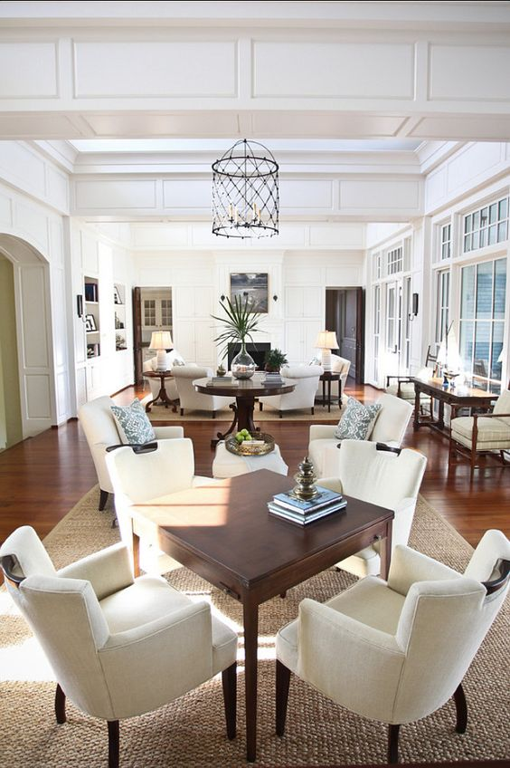 Living Room. Elegant living room with perfect furniture layout.  A similar color is Farrow and Ball Slipper Satin. The large living room was...