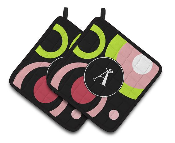 Letter A Monogram - Retro in Black Pair of Pot Holders AM1002-APTHD