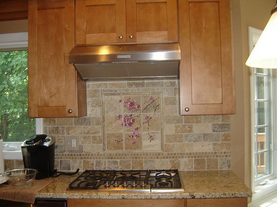 Maple Kitchen Cabinets Backsplash maple cabinets, granite counters,hand painted backsplash | my