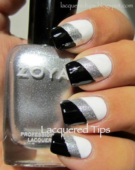 Nail Art ~ Stripes in black,silver,and white.   Nail Ideas ...