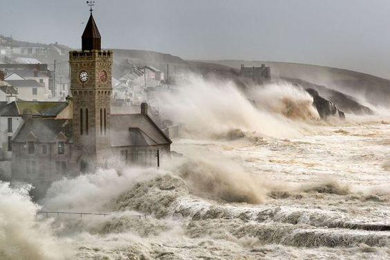 Huge waves: The harbour was battered by huge waves