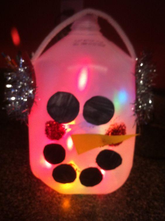 Milk jug snowman