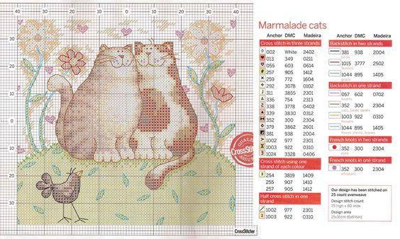 Portal do Ponto Cruz: Casal de gatinhos: Embroidery Cats, Xstitch Cat, Cross Cats, Chats Cats, Cat S, Cross Stitch Cats
