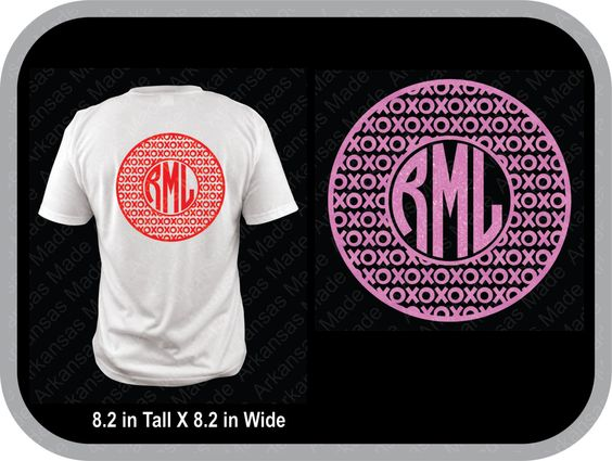 Valentines xoxo circle monogram custom shirt, shown with round monogram on back of shirt - pinned by pin4etsy.com