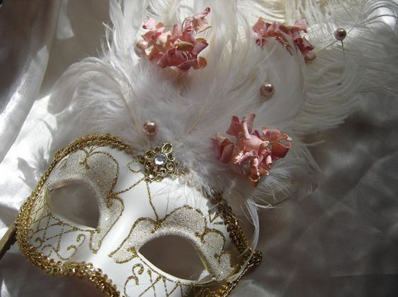 Floral Motif Venetian Masks -- Customizable on Etsy, $27.00