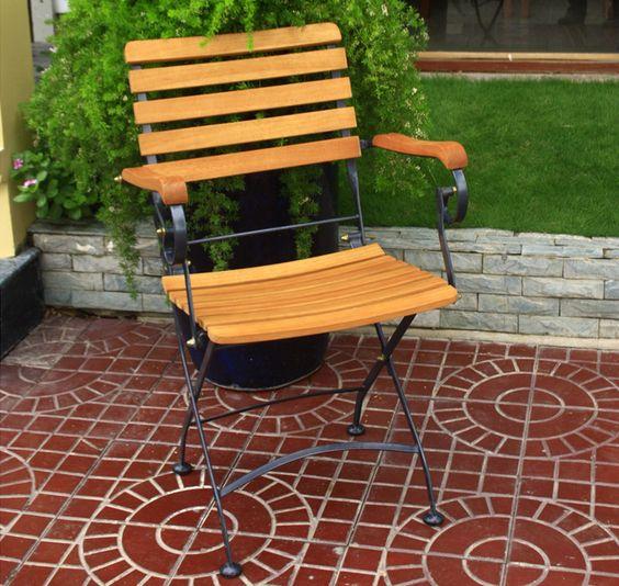 Amazing Gartenst hle eisen Stuhl mit h lzernen Basismaterial Tische und St hle Pinterest
