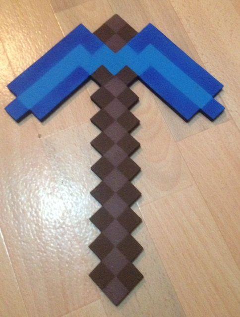 Minecraft Pickaxe Wooden Pick Axe Diamond Blue Glow In The Dark Toy Diamond Tool Game Pick Axe Minecraft Toys Minecraft