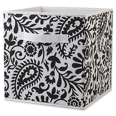 Home Basics Reg Paisley Patterned Storage Bin In Black White