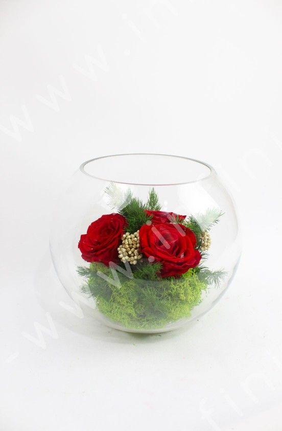 Globe En Verre Diam 20cm Avec Roses Eternelles 100 Naturelles Rouges Fleurs Qui Ne Fanent Pas Disponible Dans La Boutiqu Rose Eternelle Fleurs Rose Stabilisee
