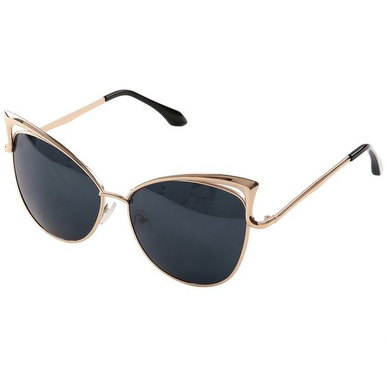 Pession Women's Fashion Flash Mirror Vintage Cat Eye Sunglasses