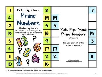 FREEBIE - Prime and Composite Numbers Pick, Flip and Check Freebie ...