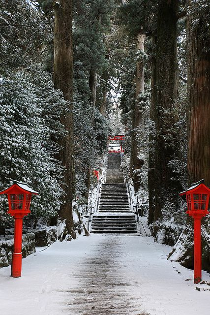 Snow in Hakone Shrine, Kanagawa, Japan: