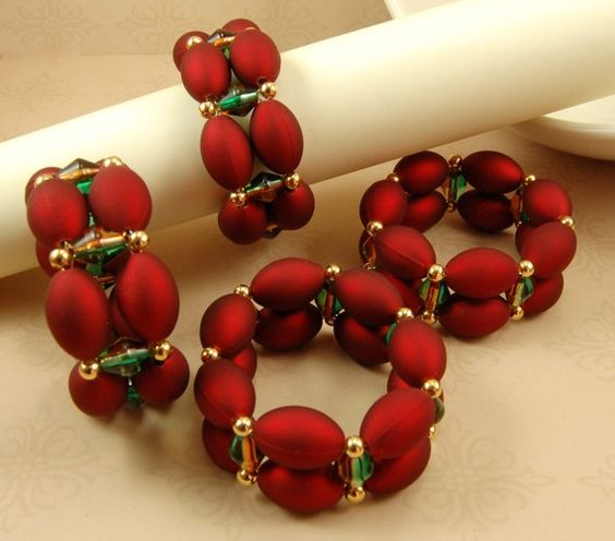 Handmade Beaded Napkin Rings in Red Green and Gold  by TamsyTrends, $20.00