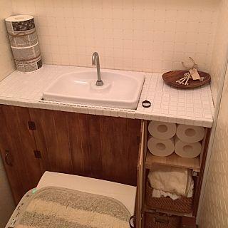 バス トイレ すのこ トイレットペーパーの収納 トイレdiy タンクレス風