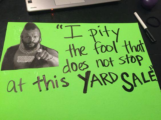 Yard Sale Funny Sign
