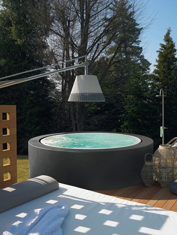free standing hot tub.  Minipool by Kos Spaces and Mini pool