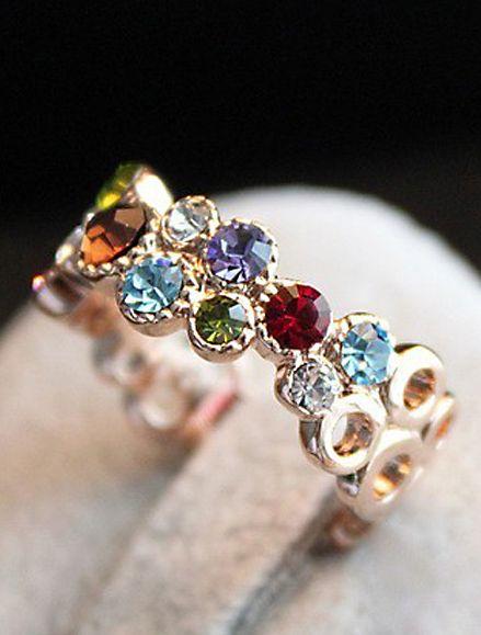 hohle Ring mit Edelstein, mehrfarbig 4.54