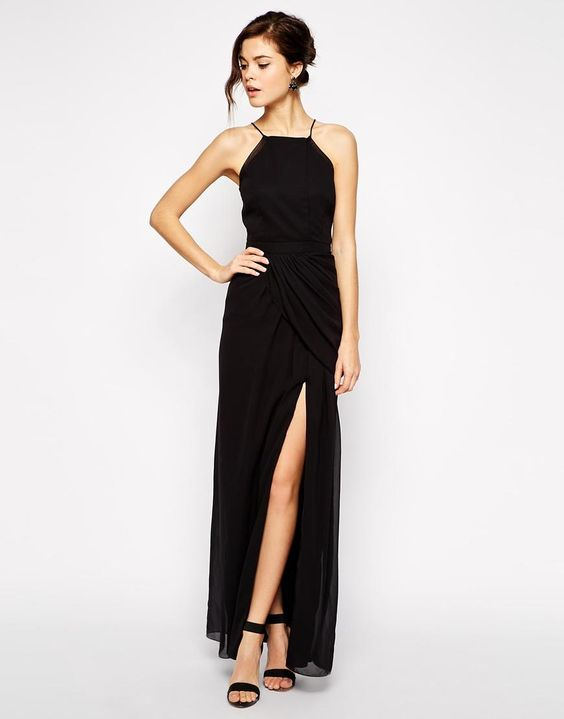 VLabel London | VLabel London Temple High Neck Maxi Dress With Thigh Split at ASOS:
