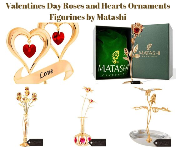 Valentines Day Roses and Hearts Ornament Figurines by Matashi