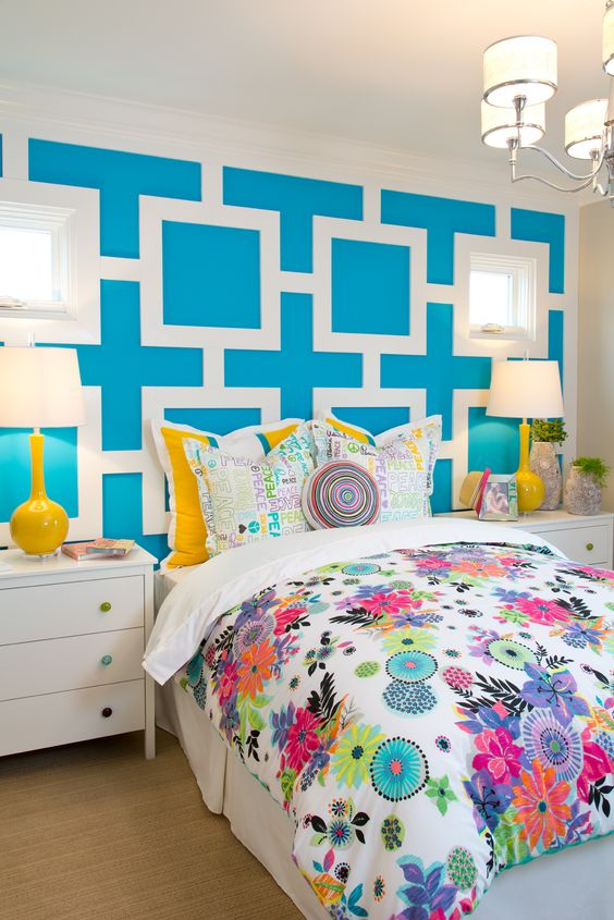 Girls patterns and love the on pinterest for Bright teenage bedroom designs
