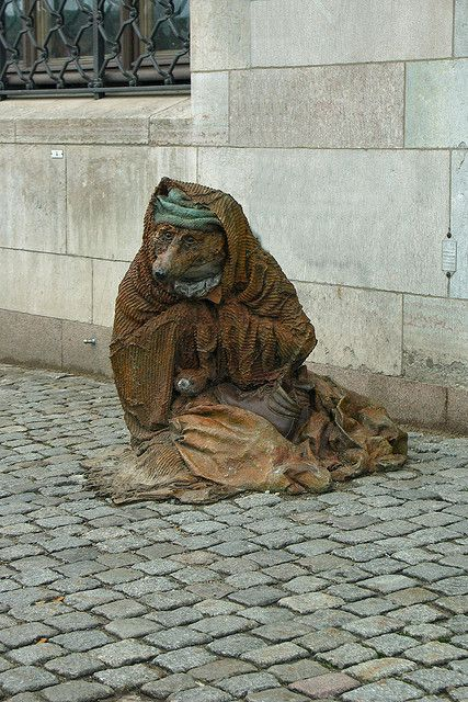 Rag and bone with a blanket in stockholm sculpture by