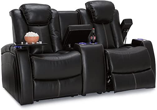Seatcraft Omega Home Theater Seating Loveseat Leather Gel Black With Adjustable Powered Headrests Usb Ports St Home Theater Seating Love Seat Theater Seating