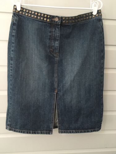 J-Crew-Skirt-Denim-size-12-Jean-Front-Slit-Metal-Rivets-J-Crew-Jcrew