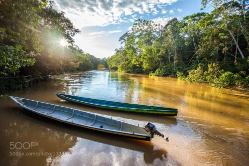 Río Tiputini by marcogarzonphotography  Ecuador Río Yasuní beautiful blue clouds forest green jungle river selva sky sun travel tree trees w