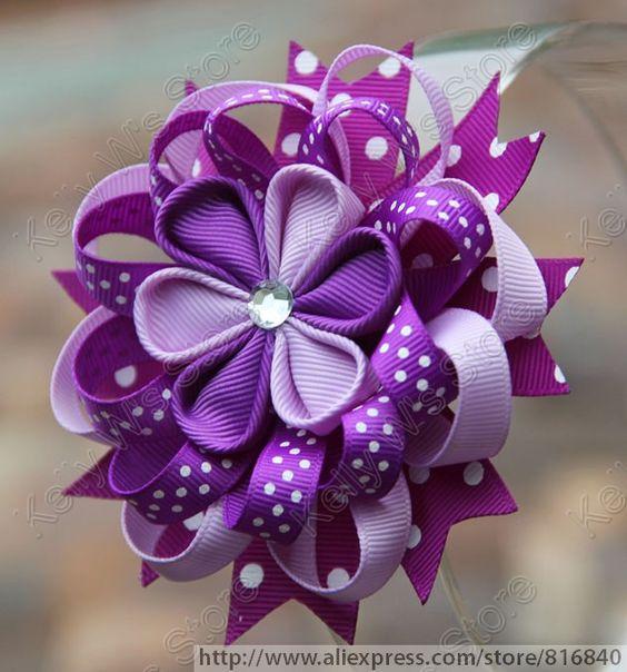 "Black Flower Bow With Diamond: 2pcs/lot New 4"" Grosgrain Ribbon Blooming Kanzashi Flower"