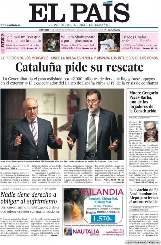 Portadas del 25 de Julio 2012 – Cataluña pide el rescate | discutivo.com