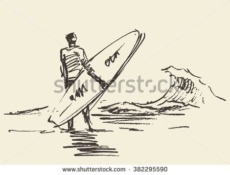 Hand drawn illustration of young man standing on the beach with a surfboard. Vector illustration, sketch