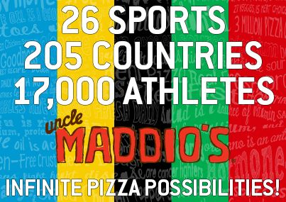 26 sports, 205 countries, 17,000 athletes . . . infinite pizza possibilities!