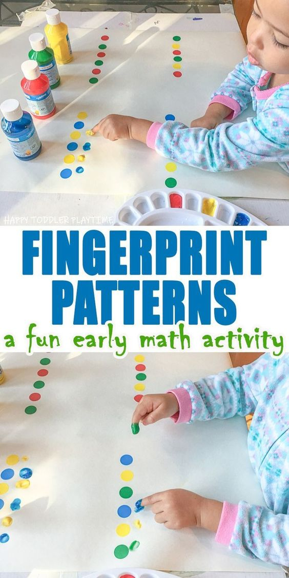 Fingerprint Patterns - HAPPY TODDLER PLAYTIME Introduce and practice pattern making in this great early math and fine motor skill activity for toddlers and preschoolers. #earlylearning #toddler #preschoolers