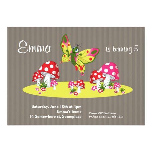 """mushroom butterfly garden birthday kids invitation """" x, invitation samples"""