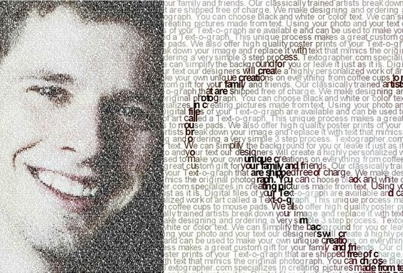 Textography. Any text you like turned into a portrait. Just cool.