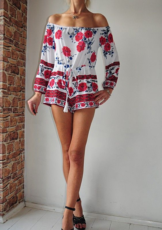 Kombinezon Bialy W Kwiaty Hiszpanka 40 Vinted Fashion Women Womens Shorts