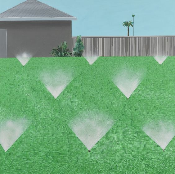 David Hockney – A Lawn Being Sprinkled, 1967. © David Hockney Photo Credit: Richard Schmidt