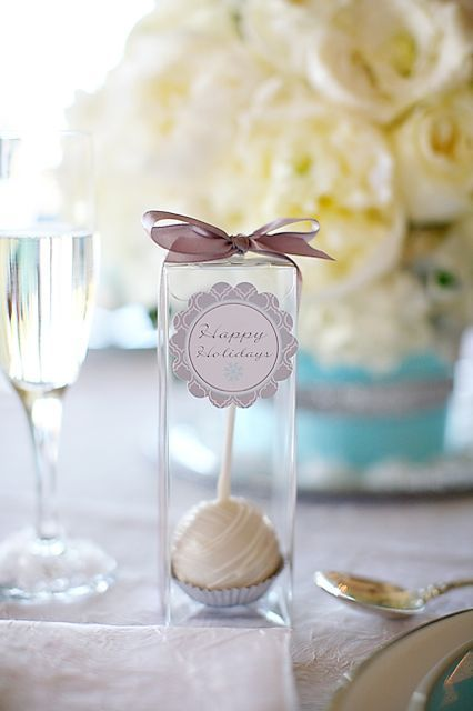 upside down cake pop with greeting / place card