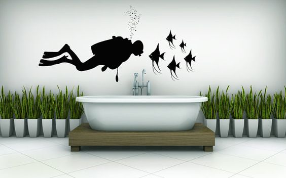 Scuba Diver with Angel Fish   Vinyl Wall by VinylWallAdornments, $46.00
